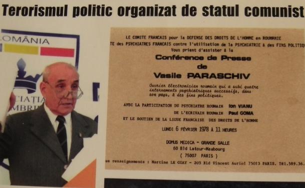 Cu ocazia unei invitatii de presa (Paris, 1978) dizidentul roman Vasile Paraschiv a criticat regimul de la Bucuresti pentru nerespectarea drepturilor omului si folosirea psihiatriei ca arma de represiune politica- aspecte pe care le cunostea foarte bine, din proprie experienta. La intoarcerea in tara este expulzat. Vasile Paraschiv si-a continuat lupta impotriva comunismului in ciuda torturilor repetate la care a fost supus din partea securitatii romane. (Foto: The Epoch Times Romania, Imagine de pe coperta cartii Lupta mea pentru sindicatele libere in Romania, Vasile Paraschiv, Polirom, 2005)