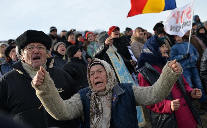 Protest anti-Chevron în Pungeşti (DANIEL MIHAILESCU / AFP / Getty Images)