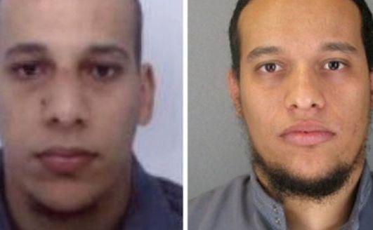 Cei doi suspecţi urmăriţi de poliţia franceză pentru atacarea publicaţiei Charlie Hebdo: (de la st la dr) Cherif Kouachi şi fratele său Said Kouachi. (Captură Foto)