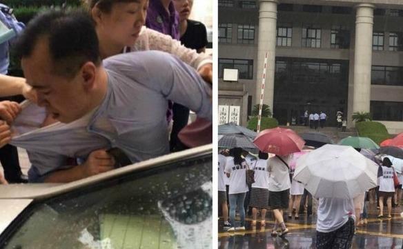 Shan Jiuliang este înconjurat de investitorii furioşi (st). Oamenii protestează în faţa sediului bursei Fanya (dr). (Captură Foto)