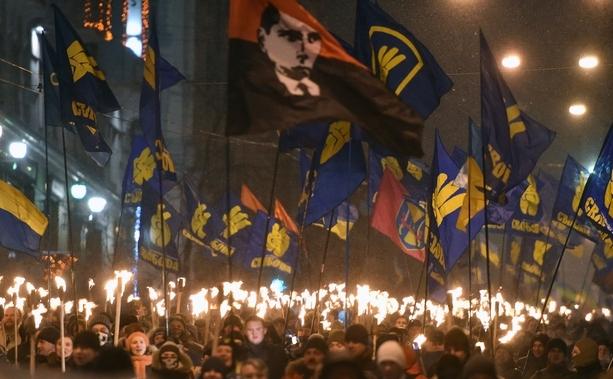 Demonstraţie care marchează 107 ani de la naşterea liderului naţionalist ucrainean Stepan Bandera - 1 ianuarie 2016