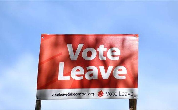 """O pancartă pe care scrie """"Vote Leave"""" este văzută în sud-estul Londrei, 16 iunie 2016."""