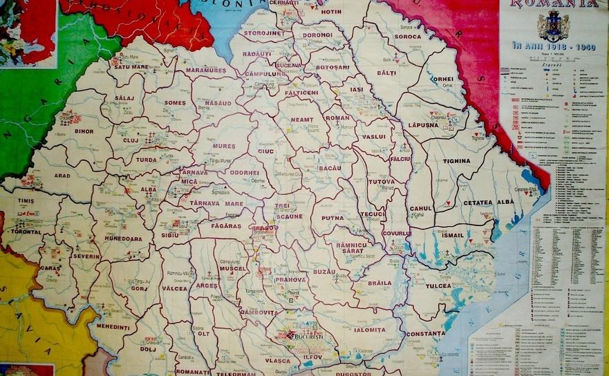 Harta României în anii 1916-1940