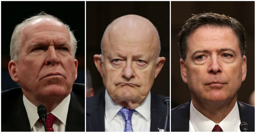 Fostul  director CIA, John Brennan (Alex Wong/Getty Images), fostul director al  Biroului pentru National Intelligence, James Clapper, şi fostul  director al FBI, James Comey